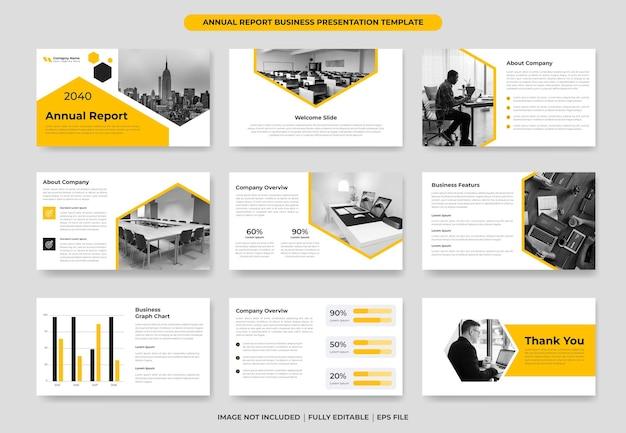 Gelber jahresbericht powerpoint-folie vorlagendesign oder vorschlagsprojektvorlage