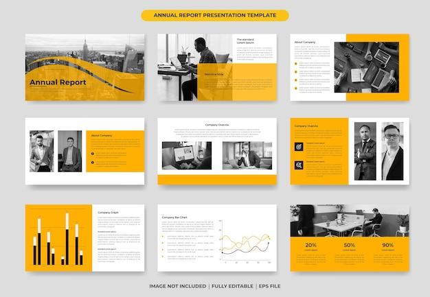 Gelber jahresbericht powerpoint-vorlagendesign oder vorschlagsprojektvorlage