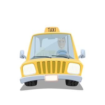 Gelber karikatur-taxiauto mit freundlichem fahrer lokalisiert auf weißem hintergrund.