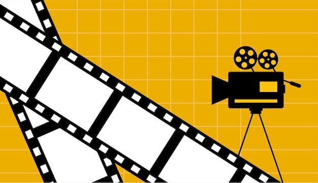 Gelber kinofilmhintergrund mit filmstreifen und kameravektordesign