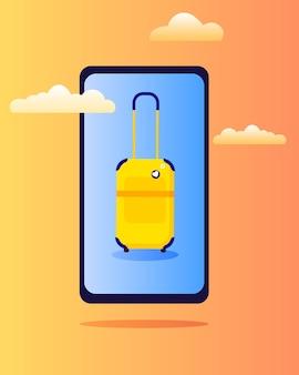 Gelber koffer auf dem telefonbildschirm im flachen stil