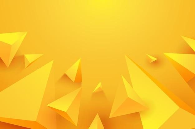 Gelber konzepthintergrund des dreiecks 3d
