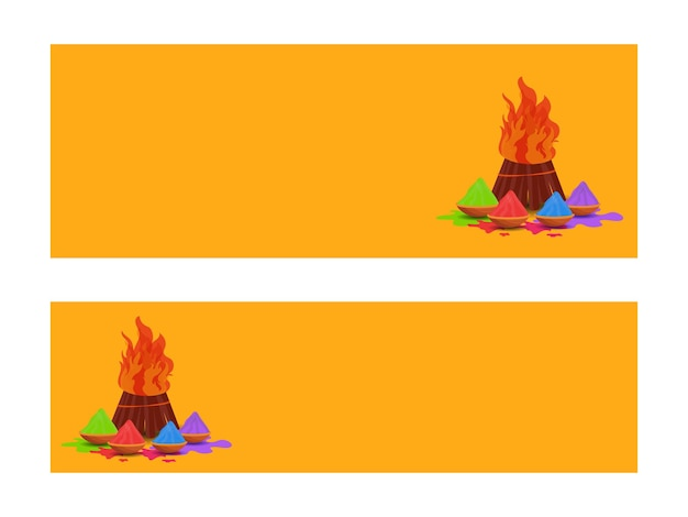 Gelber kopf- oder bannerentwurf mit lagerfeuer