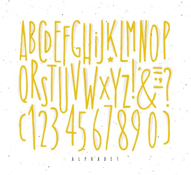 Gelber linien schriftart des alphabetes gerade