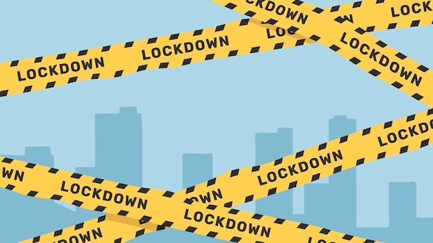 Gelber lockdown-warnbandvektor