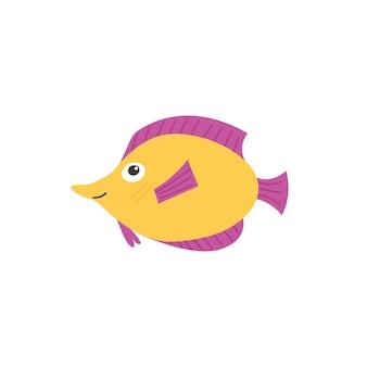 Gelber lustiger fisch mit lila flossen. meeres- und meerestiergeschöpf-aquafauna. flache isolierte vektorgrafik