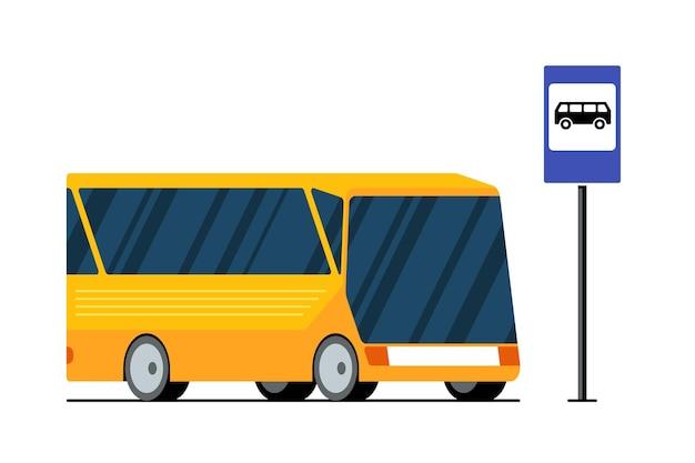 Gelber moderner stadttransportbus auf der straße in der nähe von bushaltestellenzeichenvektor lokalisierte flach