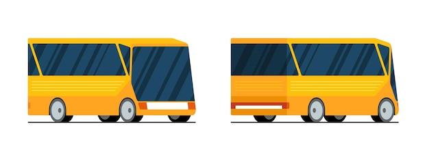 Gelber moderner stadttransportbus vorne hinten und seitenansichtvektor lokalisierte flache illustration für
