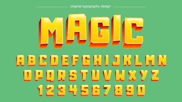 Gelber mutiger entwurf der typografie 3d