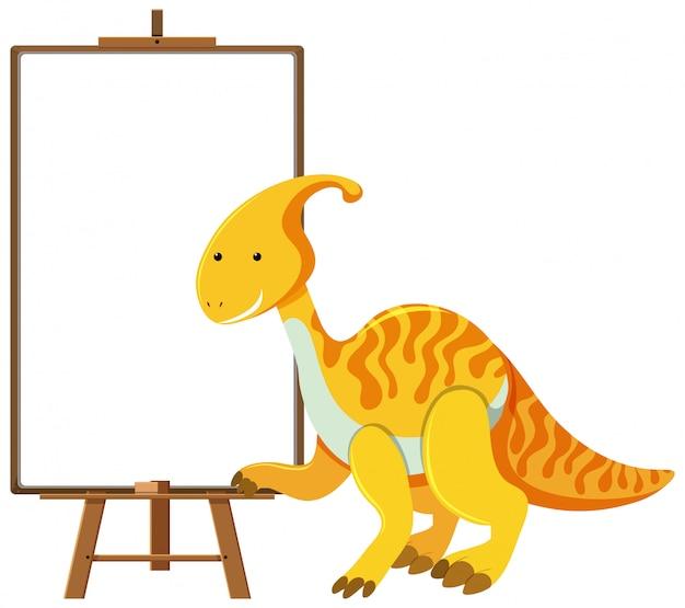 Gelber niedlicher dinosaurier mit leerem banner lokalisiert auf weißem hintergrund