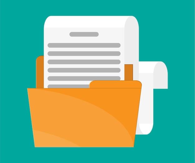 Gelber ordner mit dokumentenpapierrolle.
