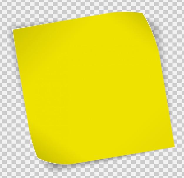 Gelber papieraufkleber über transparentem hintergrund