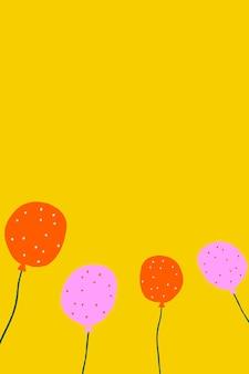 Gelber partyballonhintergrundvektor im geburtstagsthema