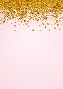 Gelber punkt-weihnachtsvektor-rosa-hintergrund. reiche kreisabbildung. goldglanz-luxus-banner. runde kunst-einladung.