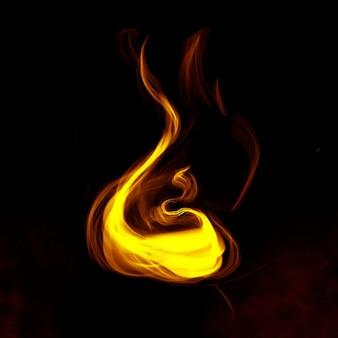 Gelber rauchelement-grafikvektor auf dunklem hintergrund