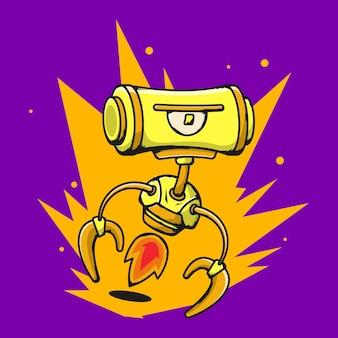 Gelber roboter mit violettem hintergrund