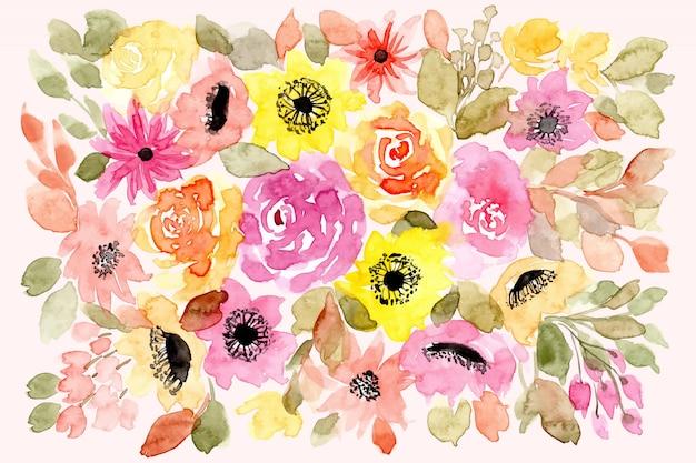 Gelber rosa blumenaquarellhintergrund