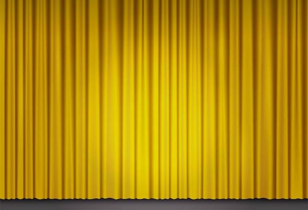 Gelber samtvorhang im theater oder kino. vektorhintergrund mit lichtfleck auf geschlossenen bühnenvorhängen der großen oper. goldene stoffvorhänge, die von suchscheinwerfern beleuchtet werden