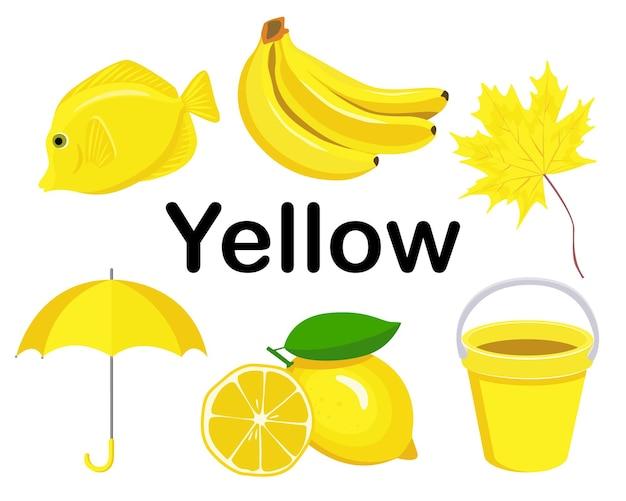 Gelber satz von gegenständen. die sammlung umfasst zitrone, regenschirm, banane, babyeimer, fisch, ahornblatt.