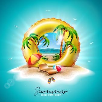 Gelber schwimmer und exotische palmen