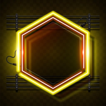 Gelber sechseck-neonrahmen.
