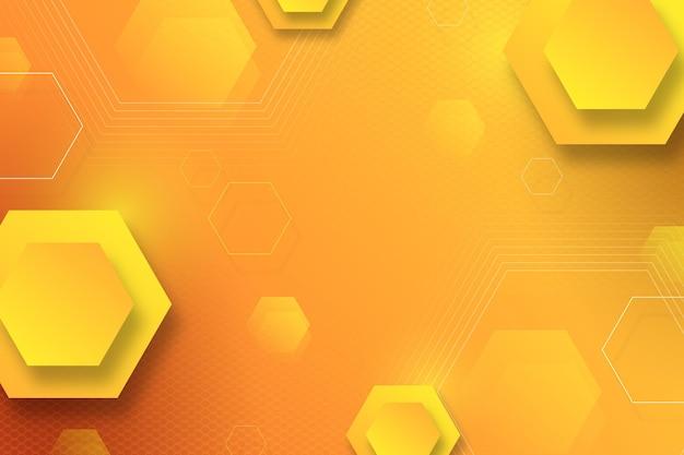 Gelber sechseckiger hintergrund mit farbverlauf