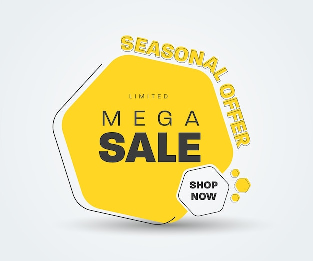Gelber sechseckiger vektoraufkleber für mega-verkauf. tag-vorlage für rabatte, saisonale angebote. schwarzes strichbanner