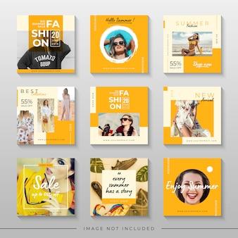 Gelber sommerschlussverkauf für social media-beitragsschablone