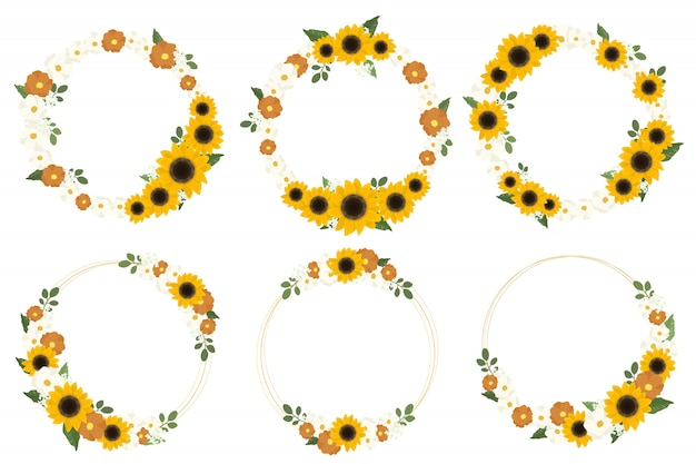 Gelber sonnenblumenkranz mit goldenem runden rahmen für frühling