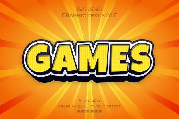 Gelber spiele cartoon bearbeitbarer texteffekt