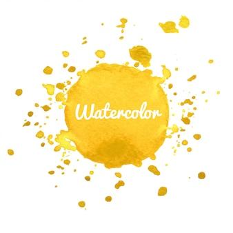 Gelber spritzenhintergrund des aquarellhandabgehobenen betrages