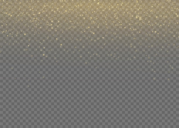 Gelber staub. bokeh-effekt. schönes licht blinkt. staubpartikel fliegen im weltraum. horizontale lichtstrahlen. glühende staubstreifen auf einem dunklen hintergrund.