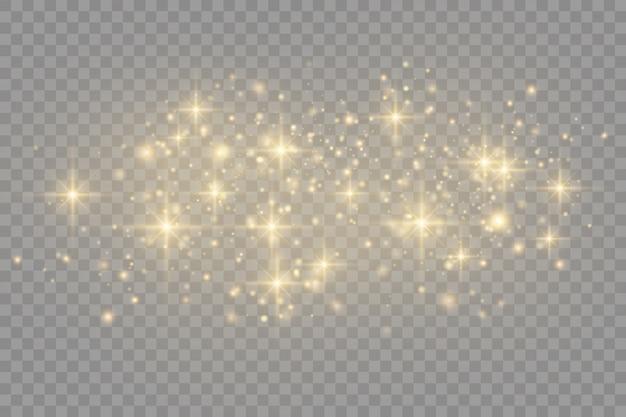 Gelber staub. bokeh-effekt. staubpartikel fliegen im weltraum. glühende staubstreifen.