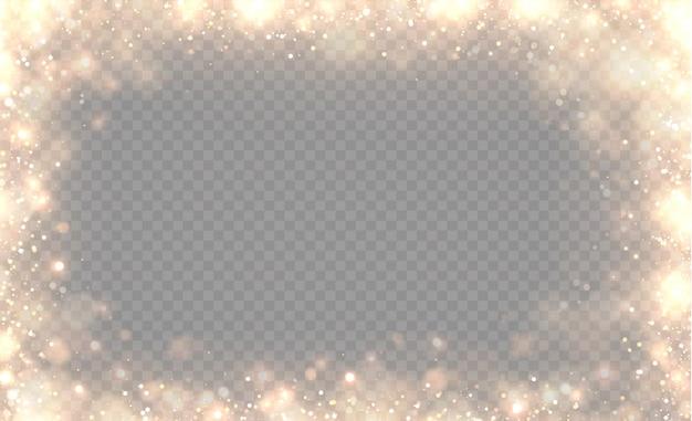 Gelber staub, gelbe funken und goldene sterne leuchten mit besonderem licht. der bokeh-effekt von licht wird auf einem transparenten hintergrund isoliert. funkelnde magische staubpartikel.