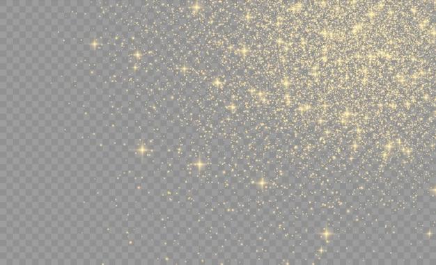 Gelber staub, gelbe funken und goldene sterne leuchten mit besonderem licht.