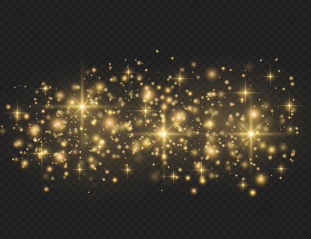 Gelber staub. licht blinkt. staubpartikel. bokeh-effekt.