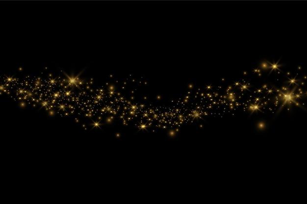 Gelber staub. schönes licht blinkt. staubpartikel fliegen im weltraum.