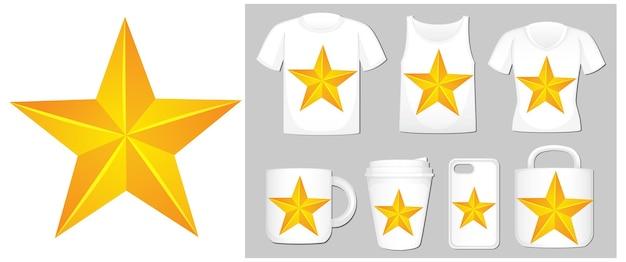 Gelber stern auf verschiedenen produktvorlagen