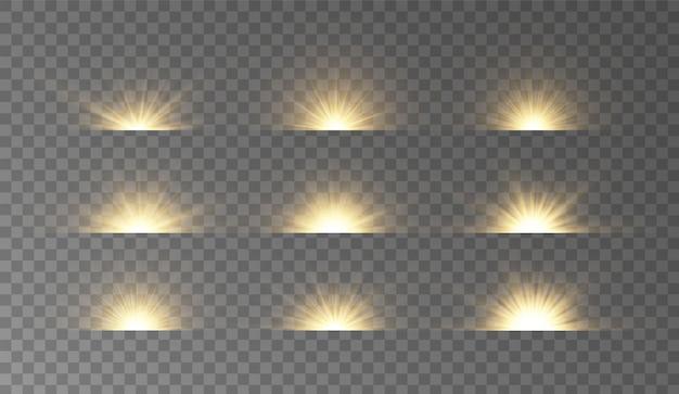 Gelber stern platzt vor glitzern glühlichteffekt, sterne, funken, fackeln, explosion