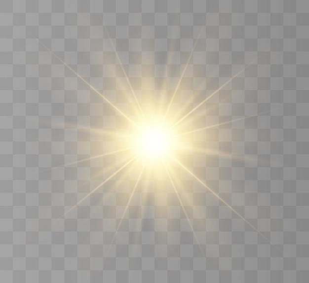 Gelber stern, strahlende sonne, blitz eines neuen sterns.
