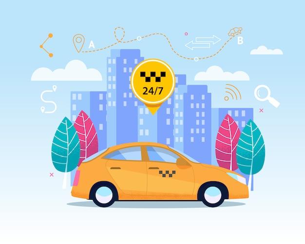 Gelber taxi-transferservice.