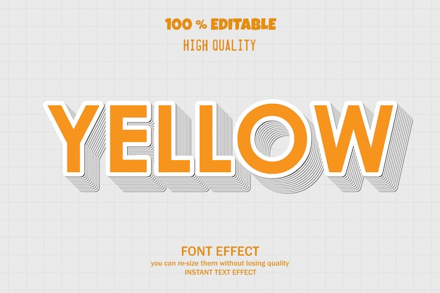 Gelber text, bearbeitbarer schriftarteneffekt