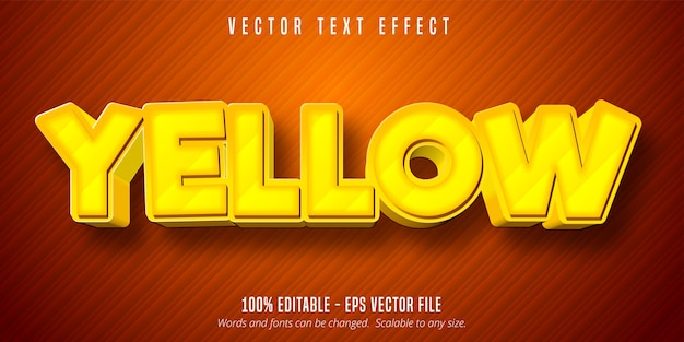Gelber text, bearbeitbarer texteffekt im cartoon-spielstil