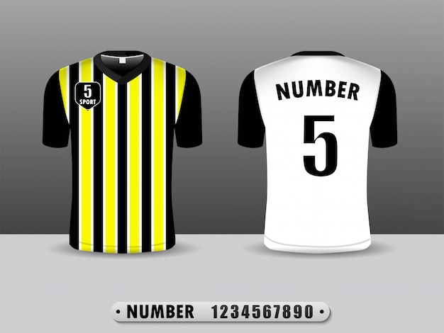 Gelber und balck fußballverein-t-shirt sport