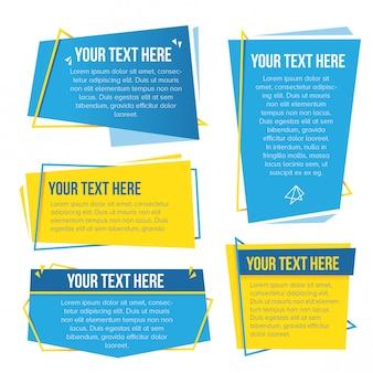 Gelber und cyan-blauer themenorientierter abstrakter papierfahnensatz