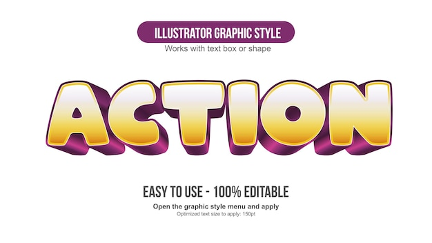 Gelber und lila bearbeitbarer texteffekt der karikatur 3d
