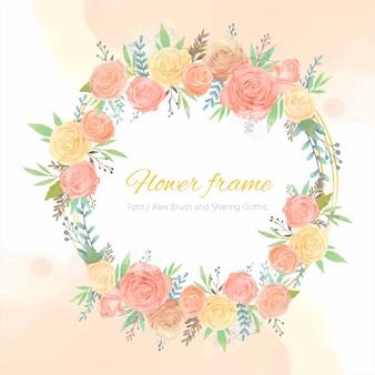 Gelber und rosa rosenblumenkreisrahmen.