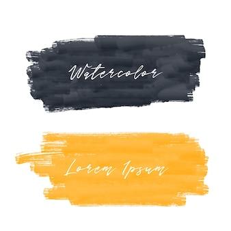 Gelber und schwarzer aquarellfarben-anschlaghintergrund