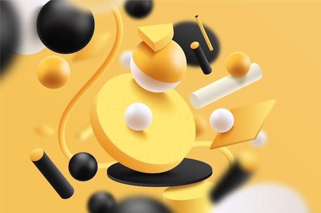 Gelber und schwarzer futuristischer 3d hintergrund