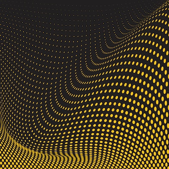 Gelber und schwarzer gewellter halbtonhintergrundvektor
